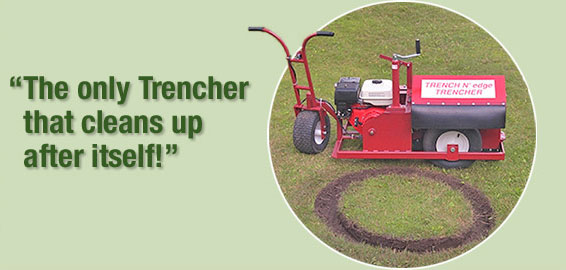 A walk behind trencher that cleans up after inself